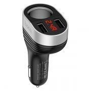 Зарядное автомобильное устройство Hoco Z29 3.1A 2xUSB + прикуриватель, дисплей, черное (0L-00041037)