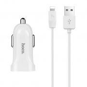 Зарядное автомобильное устройство Hoco Z2A 2.4A 2xUSB + кабель Lightning, белое (0L-00037558)