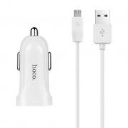 Зарядное автомобильное устройство Hoco Z2A 2.4A 2xUSB + кабель microUSB, белое (0L-00037559)
