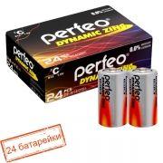 Батарейка C Perfeo Dynamic Zinc R14/2SH, солевая, 24 шт, коробка
