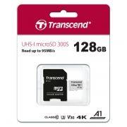Карта памяти Micro SDXC 128Gb Transcend 300S Class 10 UHS-I U3, 90/45 Мб/c + адаптер SD