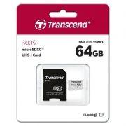 Карта памяти Micro SDXC 64Gb Transcend 300S Class 10 UHS-I U1+ адаптер SD (TS64GUSD300S-A)