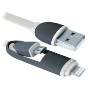 Кабель USB 2.0 Am - microUSB Bm + Lightning, 1 м, плоский, белый, Defender USB10-03BP (87493)