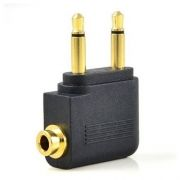 Адаптер для наушников в самолет 2x3.5 mono plug -> 3.5 stereo jack, черный, Orient C774 (30774)