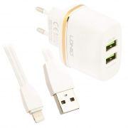 Зарядное устройство LDNIO DL-AC52 2.4А 2xUSB + кабель Lightning, белое (0L-00035460)