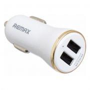 Зарядное автомобильное устройство REMAX RCC206, 2.4A 2xUSB, белое/золотист. (0L-00034542)
