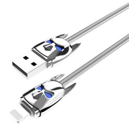 Кабель USB 2.0 Am=>Apple 8 pin Lightning, 1.2 м, метал. оплетка, серебристый, Hoco U30 (0L-00040318)