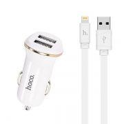 Зарядное автомобильное устройство Hoco Z1 2.1A 2xUSB + кабель Lightning, белое