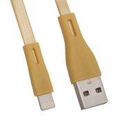 Кабель USB 2.0 Am=>Apple 8 pin Lightning, плоский, 1 м, золотистый, REMAX RC-090i (0L-00036771)