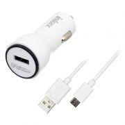 Зарядное автомобильное устройство Inkax CD-22, QC2.0, 2.1A USB + кабель microUSB, белое (0L-00038534