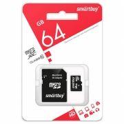 Карта памяти Micro SDXC 64Gb SmartBuy Class 10 с адаптером SD (SB64GBSDCL10-01LE)