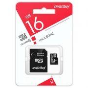 Карта памяти Micro SDHC 16Gb SmartBuy Class 10 с адаптером SD (SB16GBSDCL10-01LE)