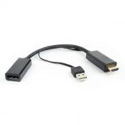 Адаптер HDMI/M - DisplayPort/F, 0.15 м, питание от USB, черный, Cablexpert (DSC-HDMI-DP)