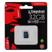 Карта памяти Micro SDHC 32Gb Kingston Class 10 Canvas Go UHS-I U3 V30, 90/45 Мб/с без адаптера