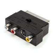 Адаптер SCART-> 3 x RCA + S-Video (тюльпан-гнезда), с переключателем вход/выход, ATcom (AT1010)