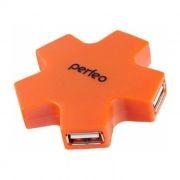 HUB 4-port Perfeo PF-HYD-6098H, USB2.0, оранжевый