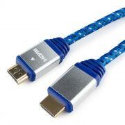 Кабель HDMI 19M-19M V1.4, 1.0 м, синий, алюмин. корпус, нейлон, Konoos (KCP-HDMInbl)