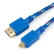 Кабель HDMI micro - HDMI 19M/micro D, 1 м, синий, нейлон, Konoos (KC-HDMIDnbrw)