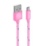 Кабель USB 2.0 Am=>micro B - 1.0 м, тканевая оплетка, розовый, Oxion DCC288PK