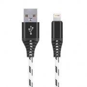 Кабель USB 2.0 Am=>Apple 8 pin Lightning, 1 м, нейлон, белый, коробка, Smartbuy (iK-510cm-2-k)