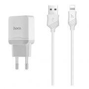 Зарядное устройство Hoco C22A 2.4А USB + кабель Lightning, белое