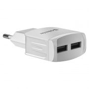 Зарядное устройство Defender EPA-13 220V->5V 2.1A 2xUSB, белое, пакет (83841)