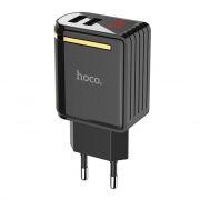 Зарядное устройство Hoco C39A 2.4А 2xUSB, дисплей, черное
