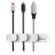Держатель на 3 кабеля 2-4 мм, магнитный, белый, Perfeo Catch Magnet (PF_A4445)