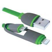 Кабель USB 2.0 Am - microUSB Bm + Lightning, 1 м, плоский, зеленый, Defender USB10-03BP (87489)