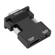 Адаптер HDMI/F - VGA/M + Audio, с аудио кабелем, черный, 5bites (AP-024)