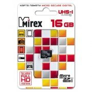 Карта памяти Micro SDHC 16Gb Mirex Class 10 UHS-I без адаптера (13612-MCSUHS16)
