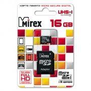 Карта памяти Micro SDHC 16Gb Mirex Class 10 UHS-I + адаптер SD (13613-ADSUHS16)
