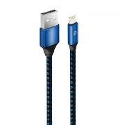 Кабель USB 2.0 Am=>Apple 8 pin Lightning, 1 м, ткан. оплетка, синий, Oxion OX-DCC215BL