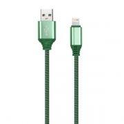 Кабель USB 2.0 Am=>Apple 8 pin Lightning, 1 м, нейлон, зеленый, Smartbuy (iK-512NSbox green)