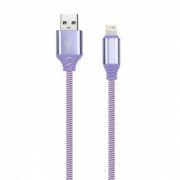 Кабель USB 2.0 Am=>Apple 8 pin Lightning, 1 м, нейлон, фиолетовый, Smartbuy (iK-512NSbox violet)