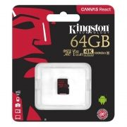 Карта памяти Micro SDXC 64Gb Kingston Class 10 Canvas React UHS-I U3 V30, 100/80 Мб/с (SDCR/64GBSP)