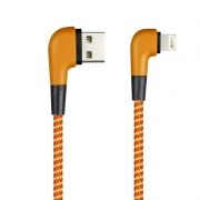 Кабель USB 2.0 Am=>Apple 8 pin Lightning, 1 м, угловой, оранжевый, SmartBuy (ik-512NSL orange)
