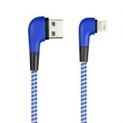 Кабель USB 2.0 Am=>Apple 8 pin Lightning, 1 м, угловой, синий, SmartBuy (ik-512NSL blue)