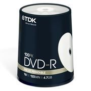 Диск DVD-R TDK 4,7 Gb 16x Printable, Cake Box, 100 шт (t19915)
