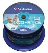 Диск CD-R VERBATIM 700Mb Azo Wide Printable - ID Branded 52x, Cake Box, 50шт (43309)