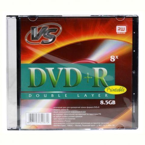 Диск DVD+R VS 8,5 Gb 8x DL Ink Printable, Slim Case (VSDVDPRDLSL502)