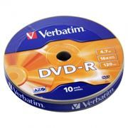 Диск DVD-R Verbatim  4,7 Gb 16x, Shrink, 10шт (43729)