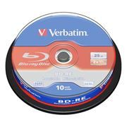Диск BD-RE Verbatim 25 Gb 2x, Cake Box, 10 шт (43694)