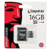 Карта памяти Micro SDHC 16Gb Kingston Class 4 + адаптер (SDC4/16GB)