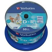 Диск CD-R VERBATIM 700Mb Azo Printable 52x, Cake Box, 50шт (43438)