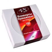 Конверт бумажный на 1CD с окном VS белый, 100шт (VSCAEPW-100-SW)