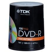 Диск DVD-R TDK 4,7 Gb 16x, Cake Box, 100шт (t19479)