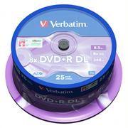 Диск DVD+R Verbatim 8,5 Gb 8x DL, Cake Box, 25шт (43757)