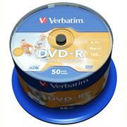 Диск DVD-R Verbatim 4,7 Gb 16x Wide Inkjet Printable, Cake Box, 50 шт (43533)