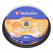Диск DVD-R Verbatim  4,7 Gb 16x, Cake Box, 10шт (43523)